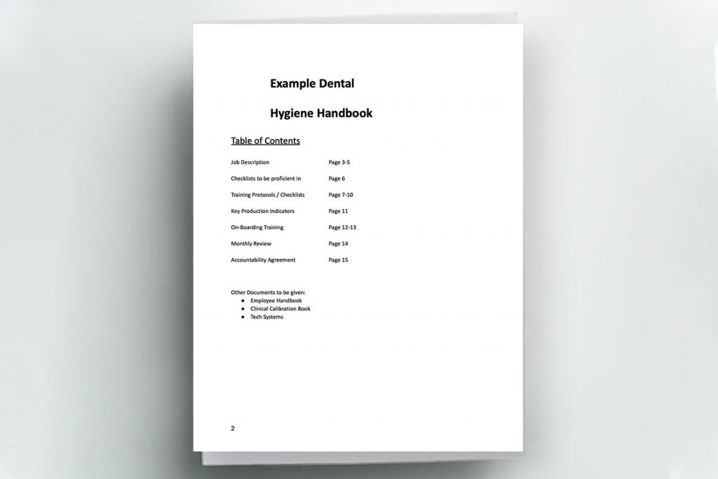 Table of Contents page from a dental hygiene handbook