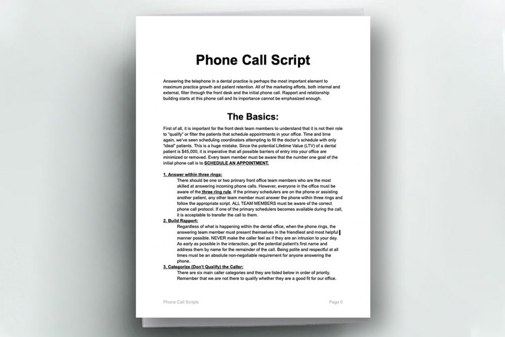 Front cover of the Phone Call Script for front office workers in a dental office